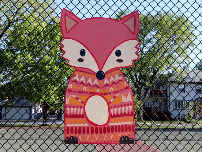 Tony Passero Independence Park Woodland Animals Mural Installation Fox Detail