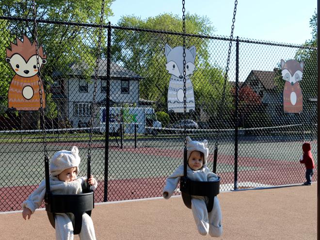 Tony Passero Independence Park Woodland Animals Mural Installation Twins on Swing