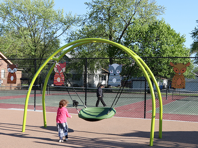Tony Passero Independence Park Woodland Animals Mural Installation Pod Swing View