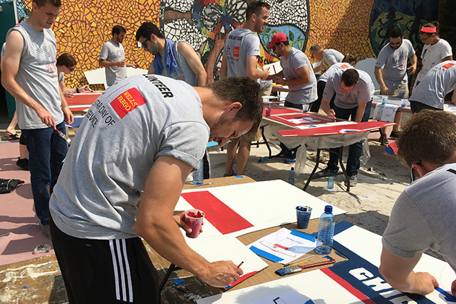 Tony Passero Chicago Fire Jersey Major League Soccer Mural Volunteers Painting 3