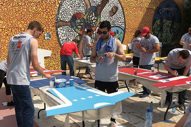 Tony Passero Chicago Fire Jersey Major League Soccer Mural Volunteers Painting 4