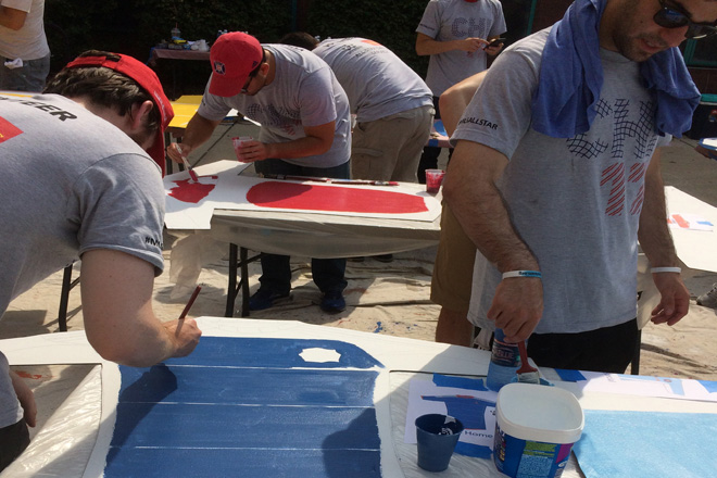 Tony Passero Chicago Fire Jersey Major League Soccer Mural Volunteers Painting 6
