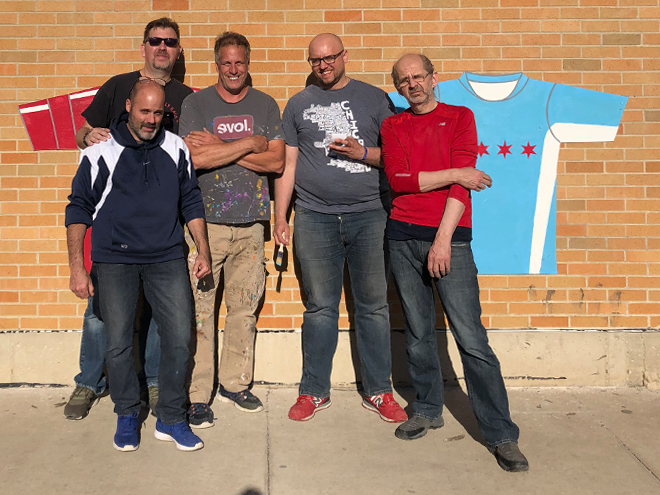 Tony Passero Major League Soccer Chicago Fire Jersey Mural Install Crew