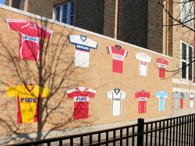 Tony Passero Major League Soccer Chicago Fire Jersey Mural Approach View at End of Day