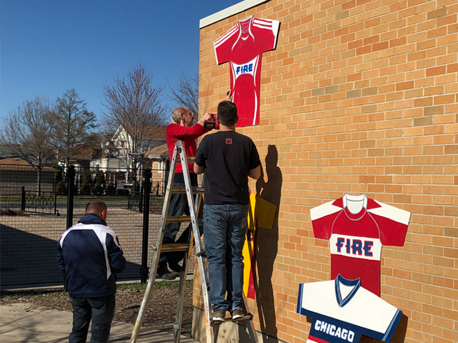 Tony Passero  Major League Soccer Chicago Fire Jersey Mural Ladder Work