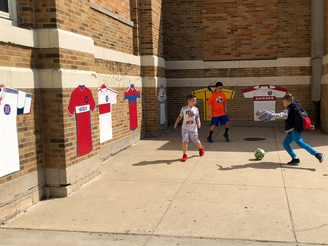 Tony Passero Major League Soccer Chicago Fire Jersey Mural Kids Playing Soccer