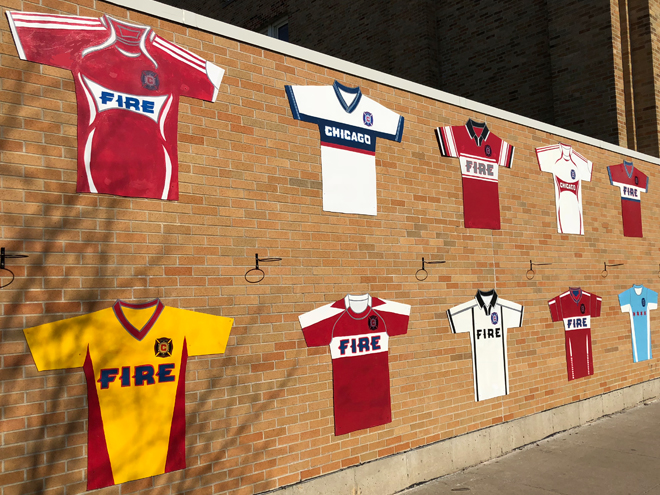 Tony Passero Major League Soccer Chicago Fire Jersey Mural  Left Approach View