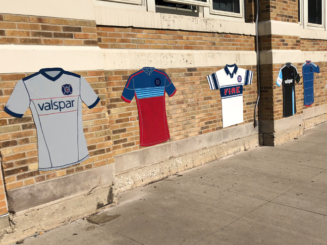 Tony Passero Major League Soccer Chicago Fire Jersey Mural  Low wall approach view