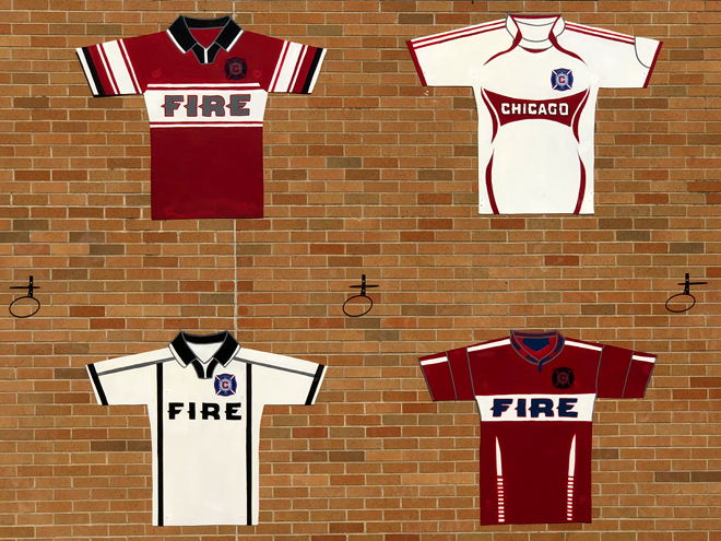 Tony Passero Major League Soccer Chicago Fire Jersey Mural  Main wall center detail