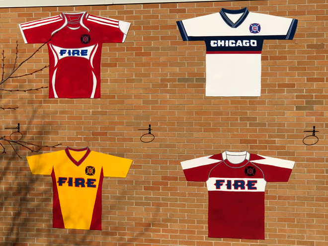 Tony Passero Major League Soccer Chicago Fire Jersey Mural  Main Wall Left Detail