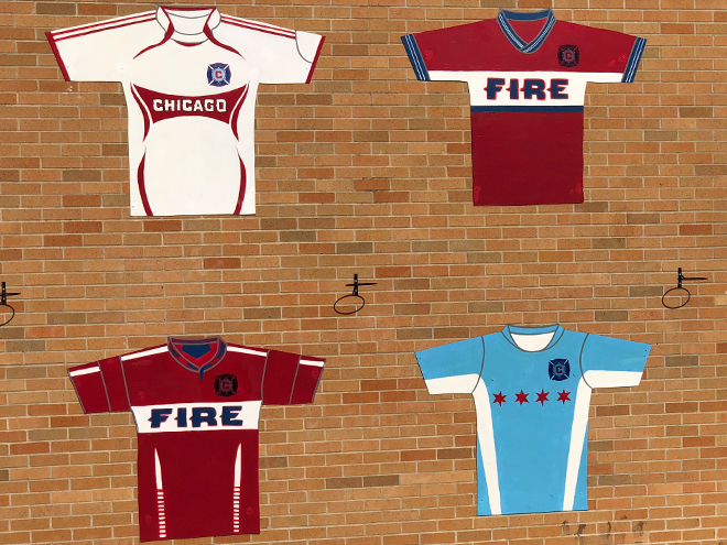 Tony Passero Major League Soccer Chicago Fire Jersey Mural Main Wall view from Playground