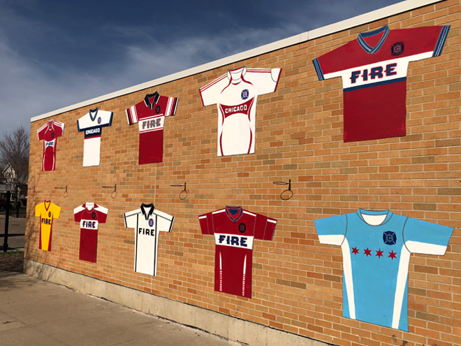 Tony Passero Major League Soccer Chicago Fire Jersey Mural  Right approach view