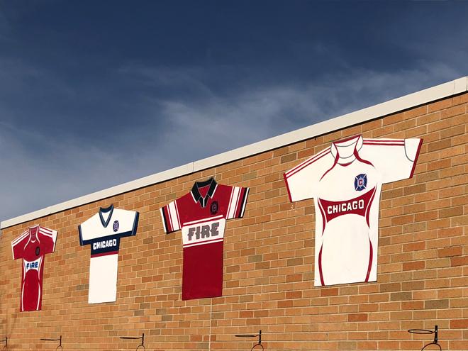 Tony Passero Major League Soccer Chicago Fire Jersey Mural  High Up Detail