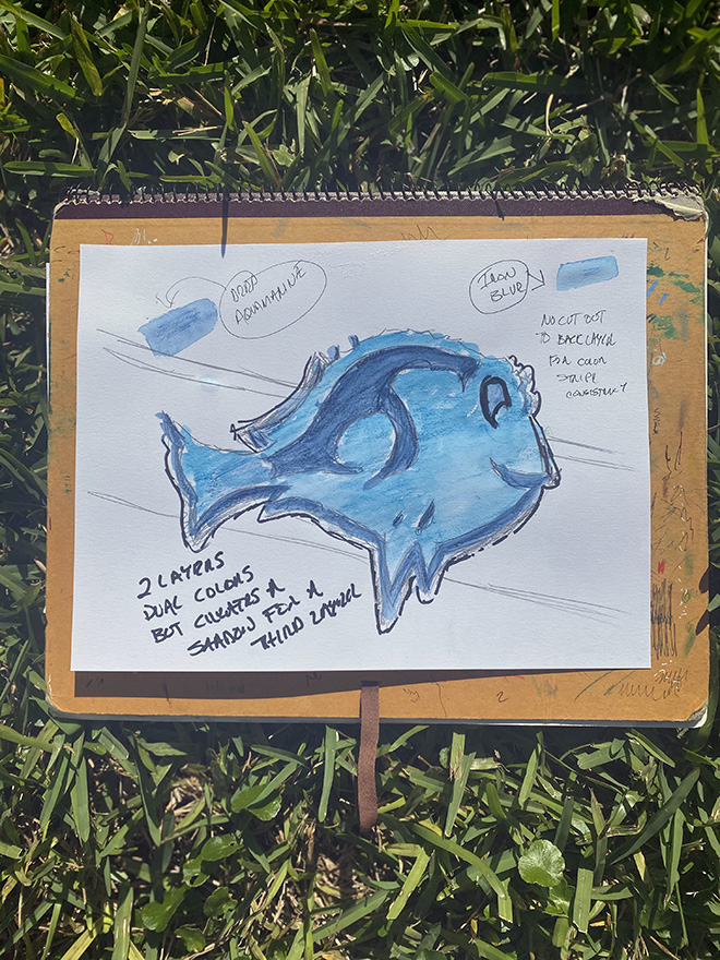Tony Passero Disney Epcot Living Seas Mural Project Pavilion  Entrance Wall Dory Die-Cut Character and Color Reference Sketch