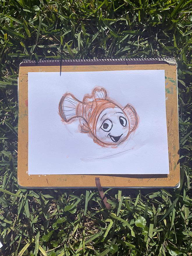 Tony Passero Disney Epcot Living Seas Mural Project Nemo Sketch