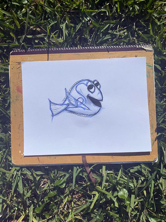 Tony Passero Disney Epcot Living Seas Mural Project Dory Sketch