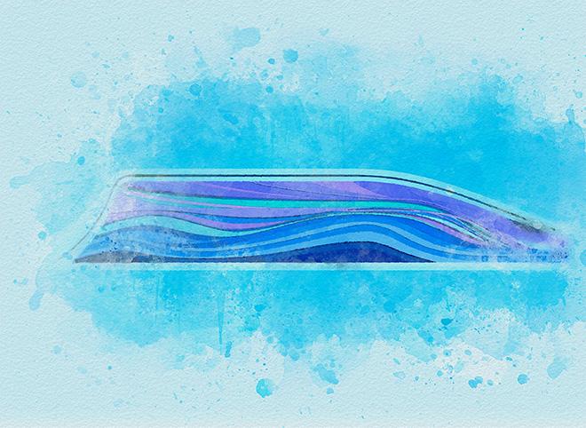 Tony Passero Disney Epcot Living Seas Mural Project Pavilion  Entrance Wall Background Water Color Study 1