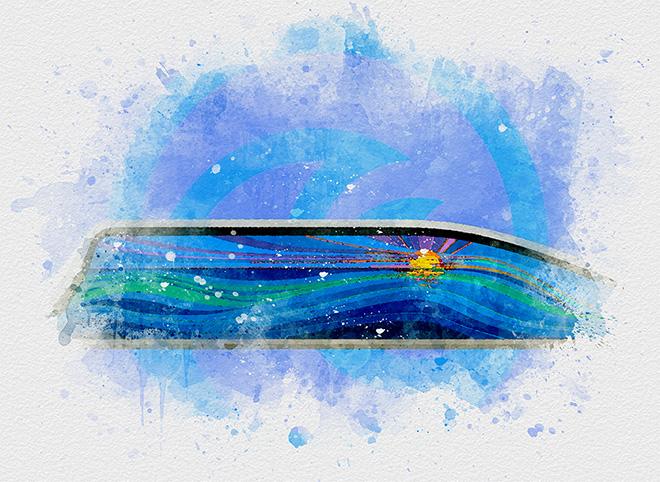 Tony Passero Disney Epcot Living Seas Mural Project Pavilion  Entrance Wall Background Water Color Study 2
